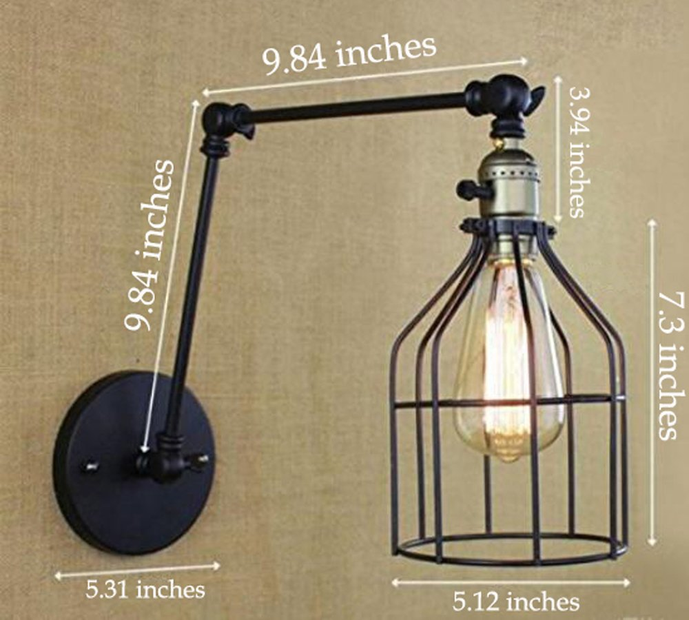 Industrial Loft Style Wall Sconce Vintage Iron Cage Integrated cord (wire, plug & switch) Wall Lamps Home Indoor Lighting Swing Arm Wall Light ,Edison Bulb Included(BD0262)