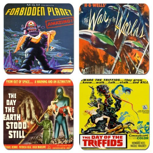Classic Sci Fi Movie Poster Coasters Set Of 4. Cork. Vintage Film by Funkyzilla by Funkyzilla