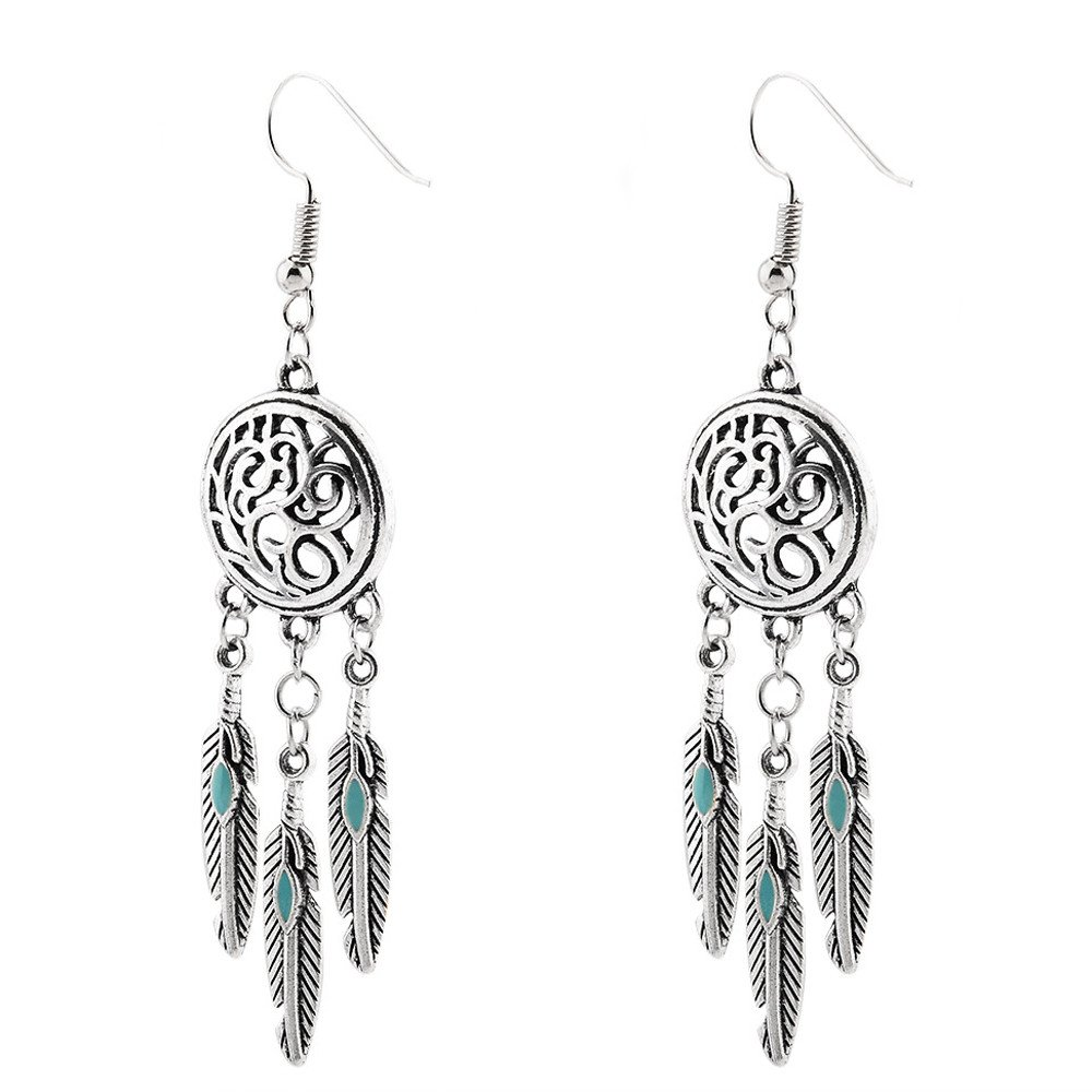 Gyouandme Vintage Tribal Feathers Antique Silver Turquoise Dream Catcher Dangle Earrings (Silver)