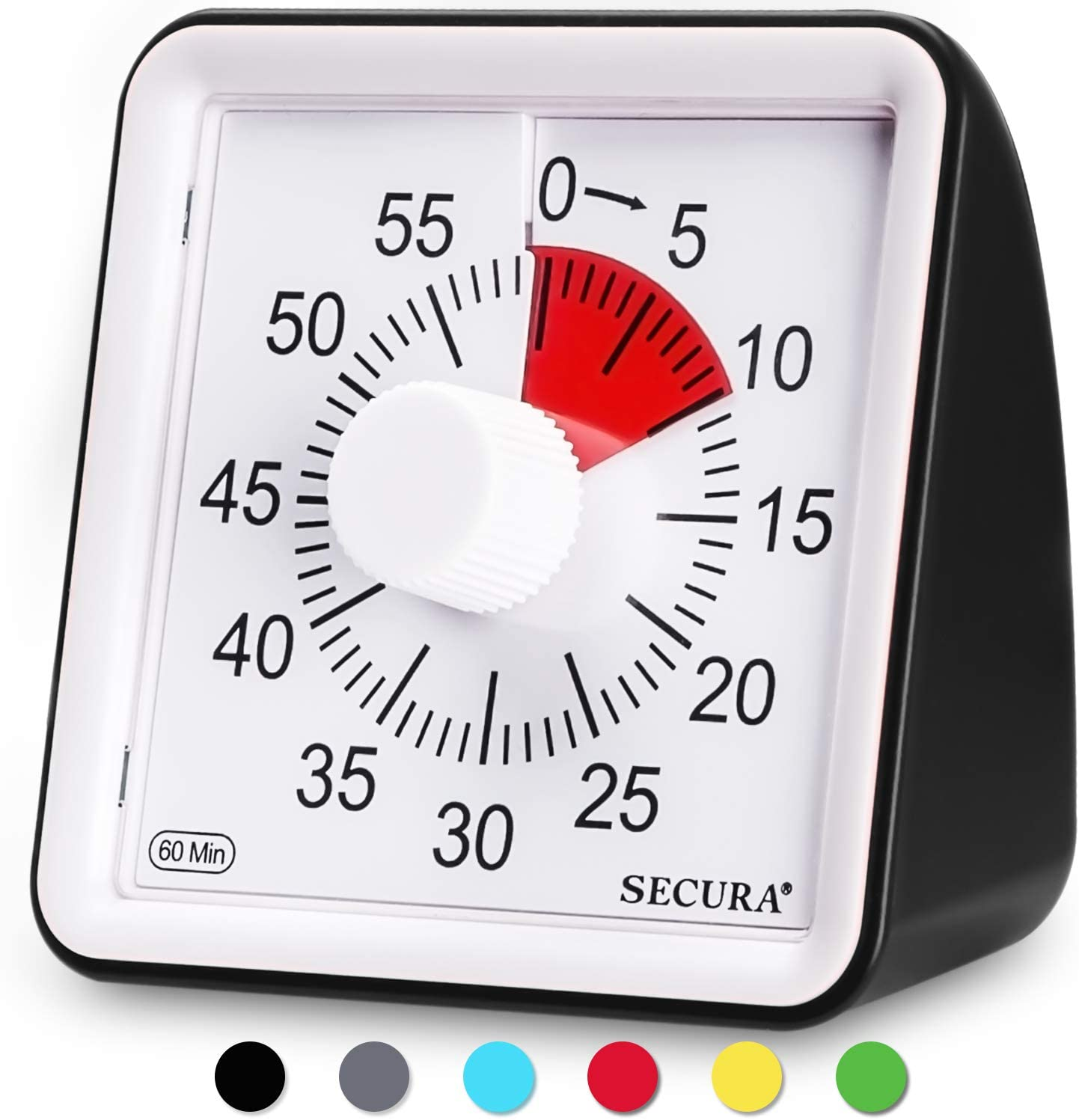 Secura 60-Minute Visual Timer, Classroom Countdown Clock, Silent Timer for Kids and Adults, Time Management Tool for Teaching (Black)