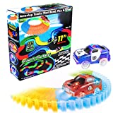 223 Loop 12 ft Standard Flexible Track Glow in the Dark Track with 1 Light Up LED Race Car for Kids By Mibote