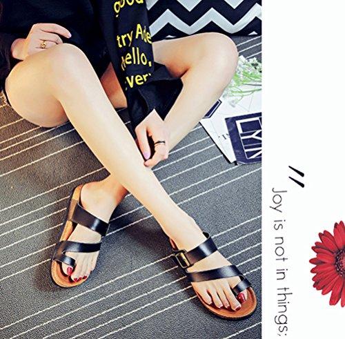 Mujer Clip Toe Sandalias Playa Zapatos Planas Sandalias Verano de plataforma cómodos zapatos de damas Negro