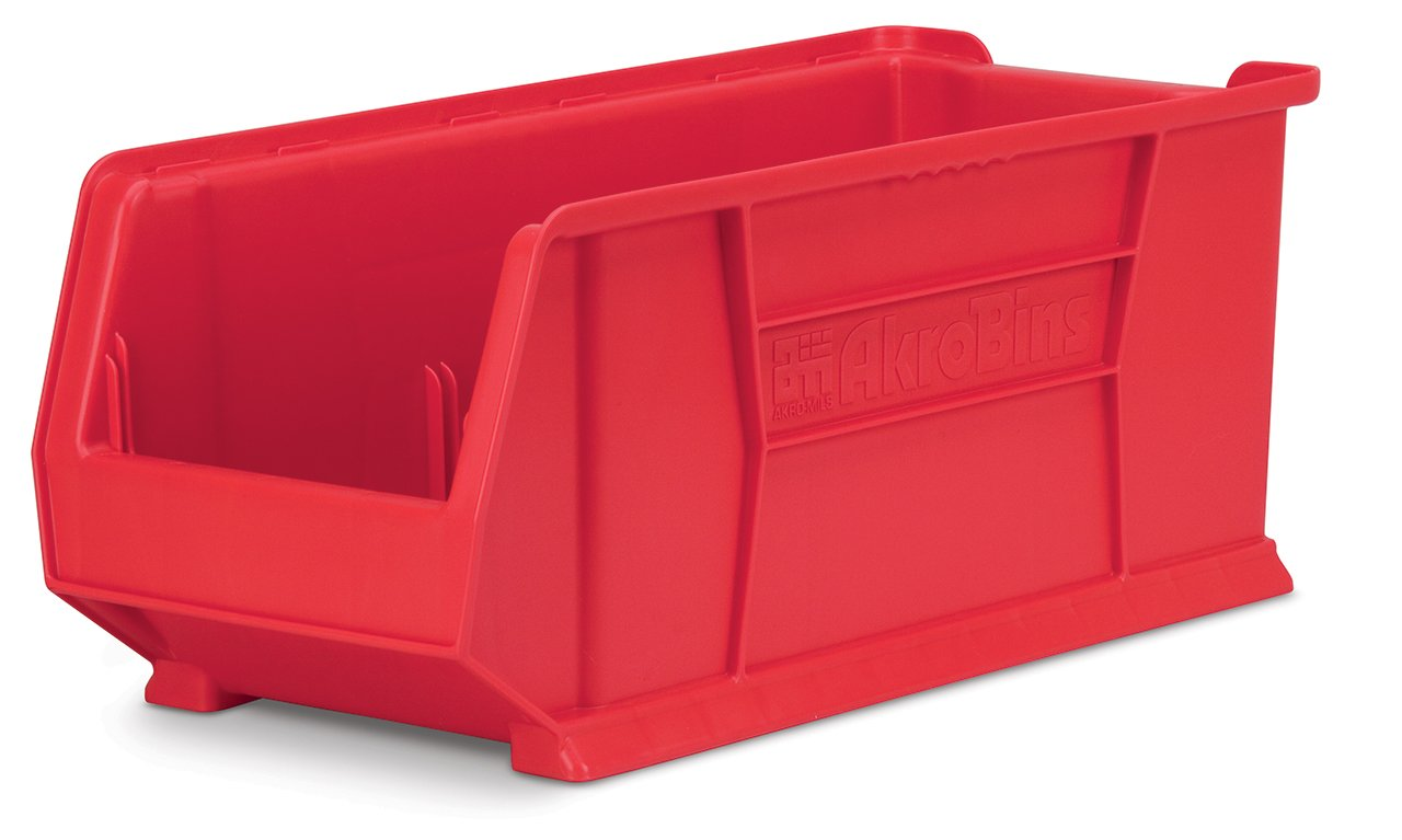 Akro-Mils 30292 30-Inch D by 11-Inch W by 10-Inch H Super Size Plastic Stacking Storage Akro Bin, Red, Case of 4