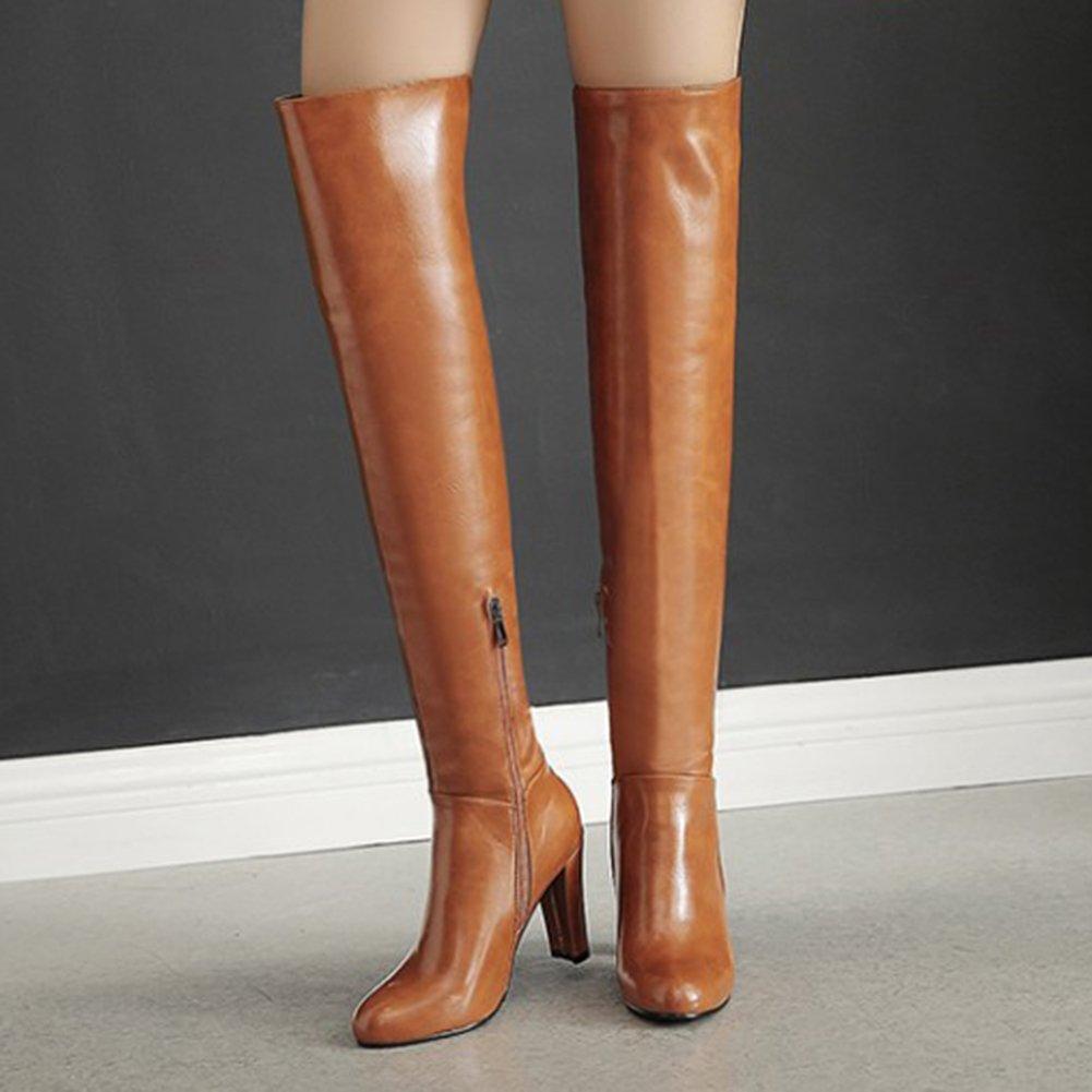 Mofri Women's Sexy Pendant Round Toe Block Chunky High Heel Side Zipper Thigh High Long Riding Boots B0781LV8GB 7 B(M) US|Brown