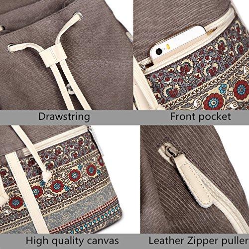 Casual Backpack Purse for Women,Canvas School Backpack Shoulder Bag Large Capacity Rucksack Bookbag fit Womens girls Ladies Travel Daypack by BTOOP (Image #6)