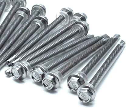 Yoohey 50pcs M6.3x25mm Hex Washer Head Self Drilling Screws 410 Stainless Steel Self Tapping Sheet Metal Screws