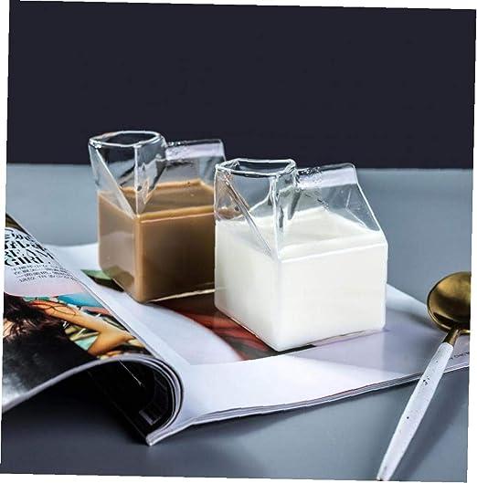 Case&Cover Botellas de 400 ml de Agua Creativo Transparente Simple Forma Rectángulo de la Leche Tazas de Cristal Estudiantes Botella de Bebida para el Jugo de té del café Vasos: Amazon.es: Hogar