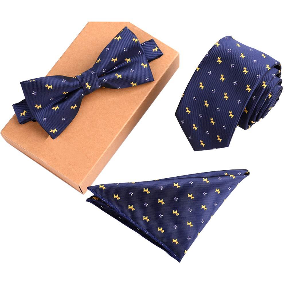 Lanburch Fashionable Premium Formal/Informal Ties Set, Necktie/Bow Tie/Pocket Square for Mens/Boys, Puppy Blue