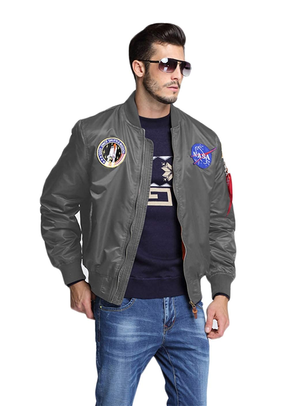 CORIRESHA Mens NASA Embroidery Badge Slim Fit Bomber Jackets Zipper Windbreaker