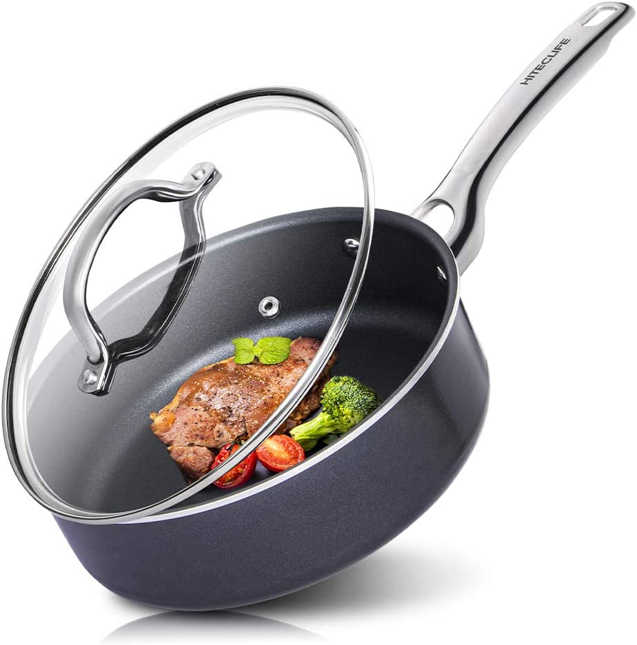 Frying Pan with Lid, Nonstick Saute Pan, 3.5QT/9.5 inch Deep Frying Pans, Chemical-Free Stir Fry Pan, Oven & Dishwasher Safe, Induction, Black - HITECLIFE
