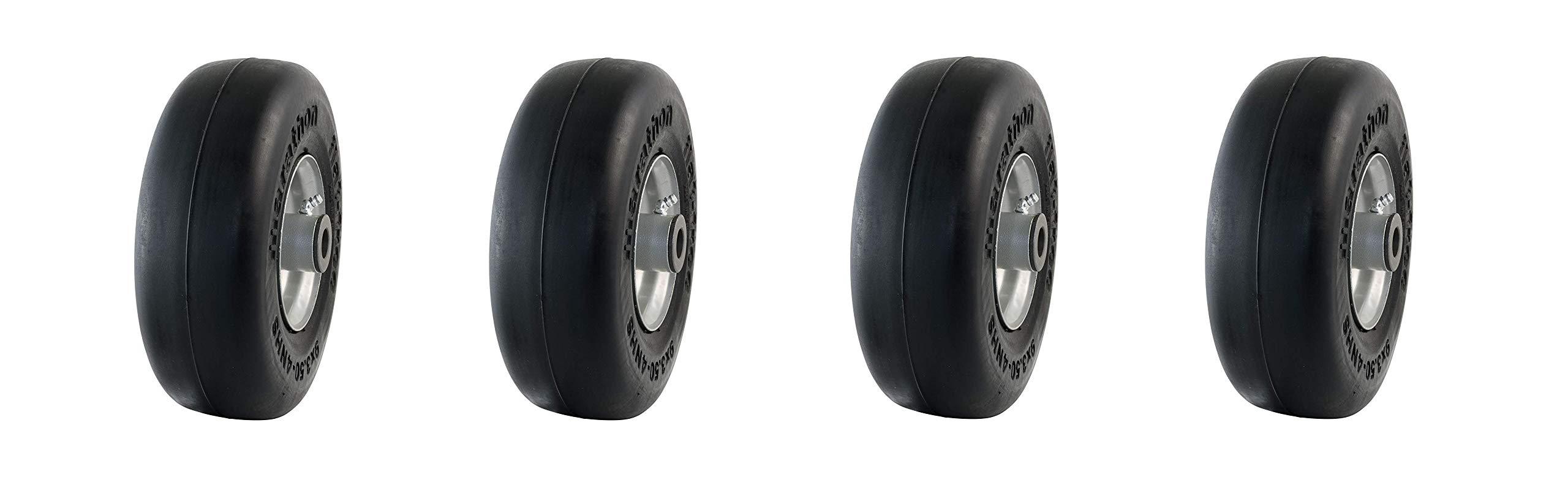 Marathon 9x3.50-4'' Flat Free Tire on Wheel, 4'' Centered Hub, 3/4'' Bushings (Pack of 4)