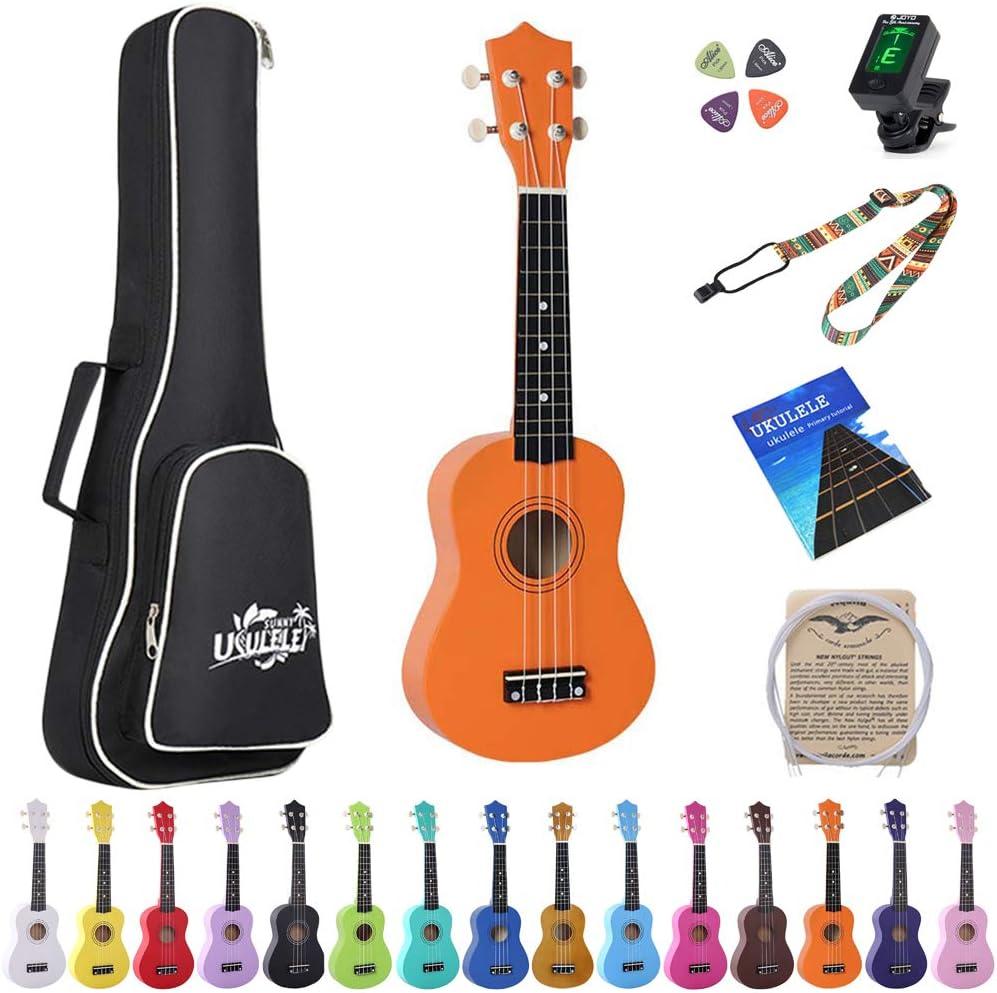 Esound 21 inch Soprano Ukulele Basswood Acoustic Mini Guitar for Beginner Kid Starter with Case Strap Tuner Picks Strings Primary Tutorial