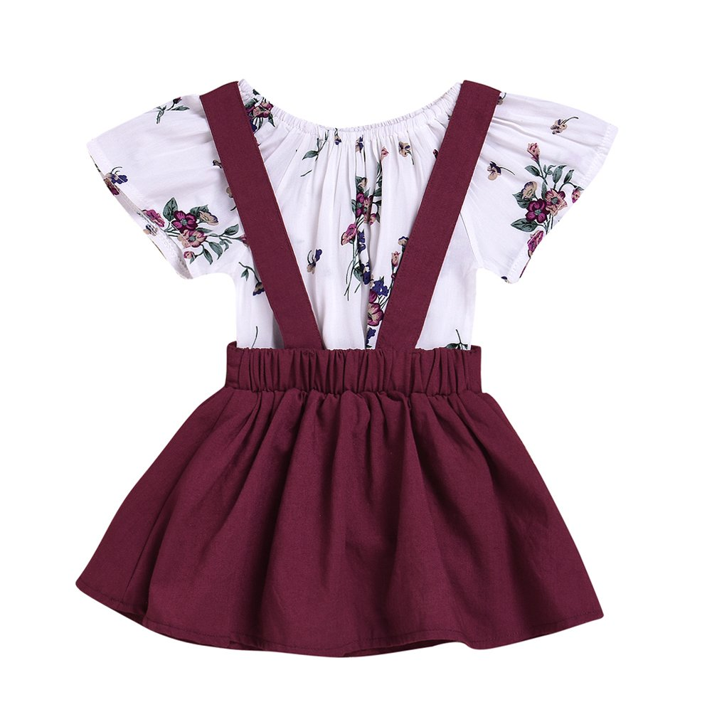 OUTGLE Newborn Baby Girl Floral Romper + Suspenders Dress Clothing Set Summer Outfits