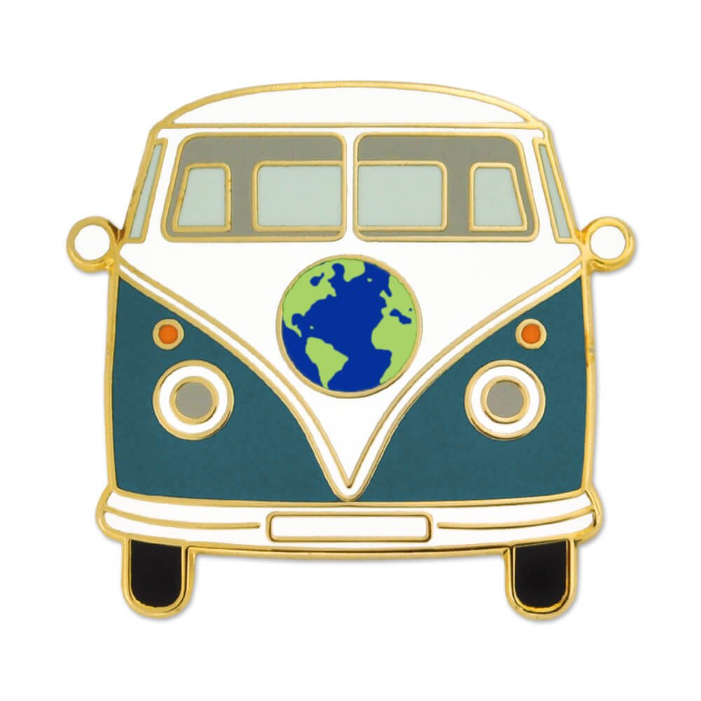 1960s Jewelry Styles and Trends to Wear PinMart Vintage World Hippie Bus Retro Van Travel Lover Enamel Lapel Pin $9.99 AT vintagedancer.com