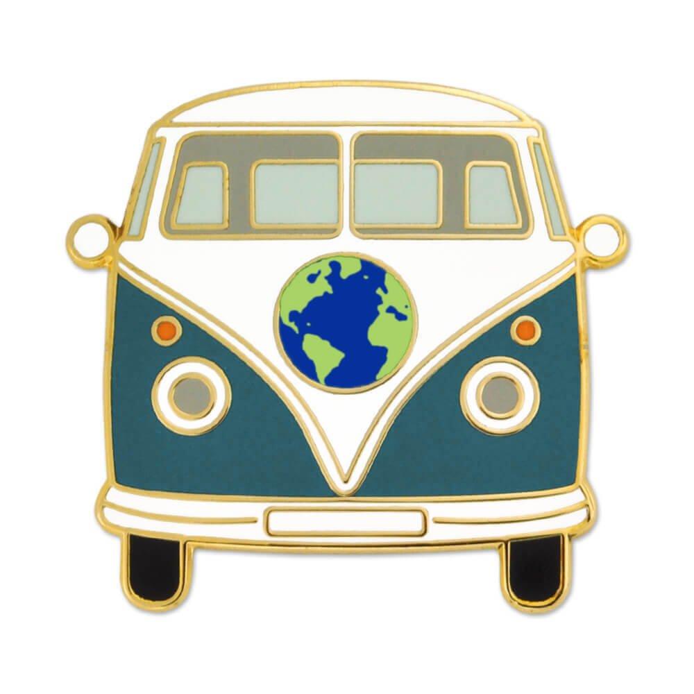 PinMart Vintage World Hippie Bus Retro Van Travel Lover Enamel Lapel Pin
