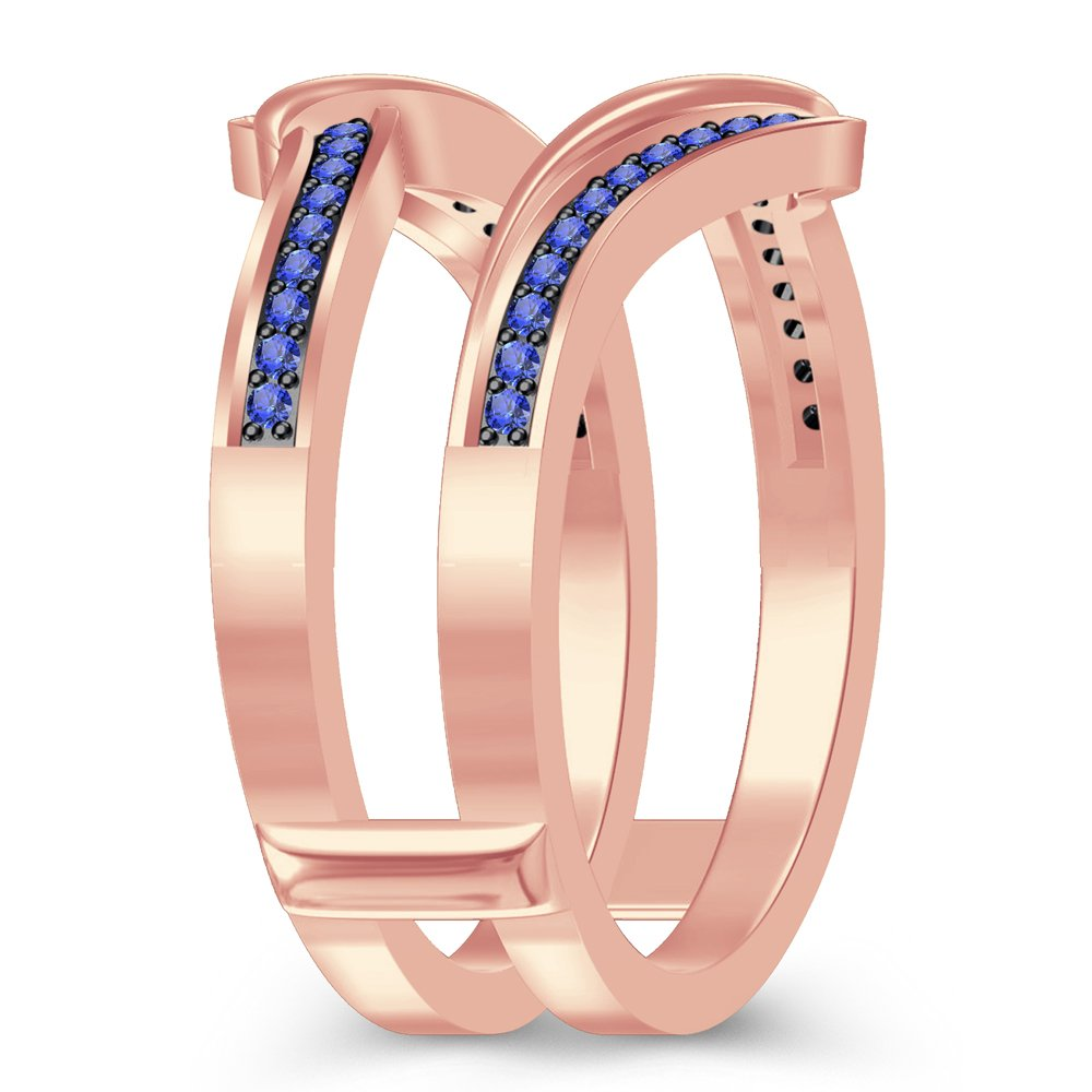 luxrygold Women's Spl Ring 14K Guard Enhancer Wrap Ring 14K Rose Gold Over Tanzanite Sim Diamond by luxrygold (Image #2)