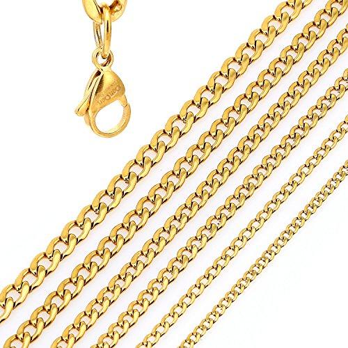 DonDon® Herren Halskette Panzerkette Edelstahl goldfarben // Verschiedene Längen und Breiten