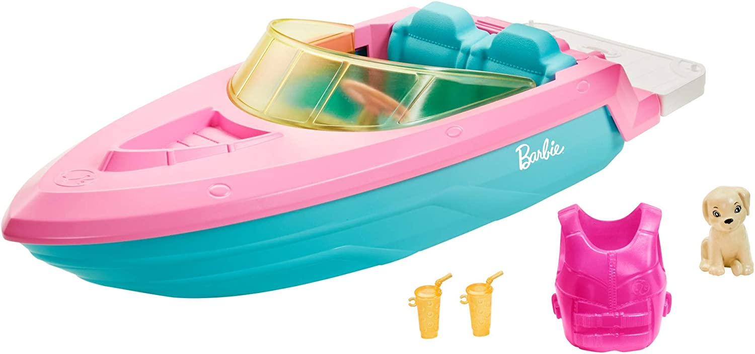 Barbie Boat with Puppy and Themed Accessories, Fits 3 Dolls, Floats in Water, Great Gift for 3 to 7 Year Olds (GRG29)
