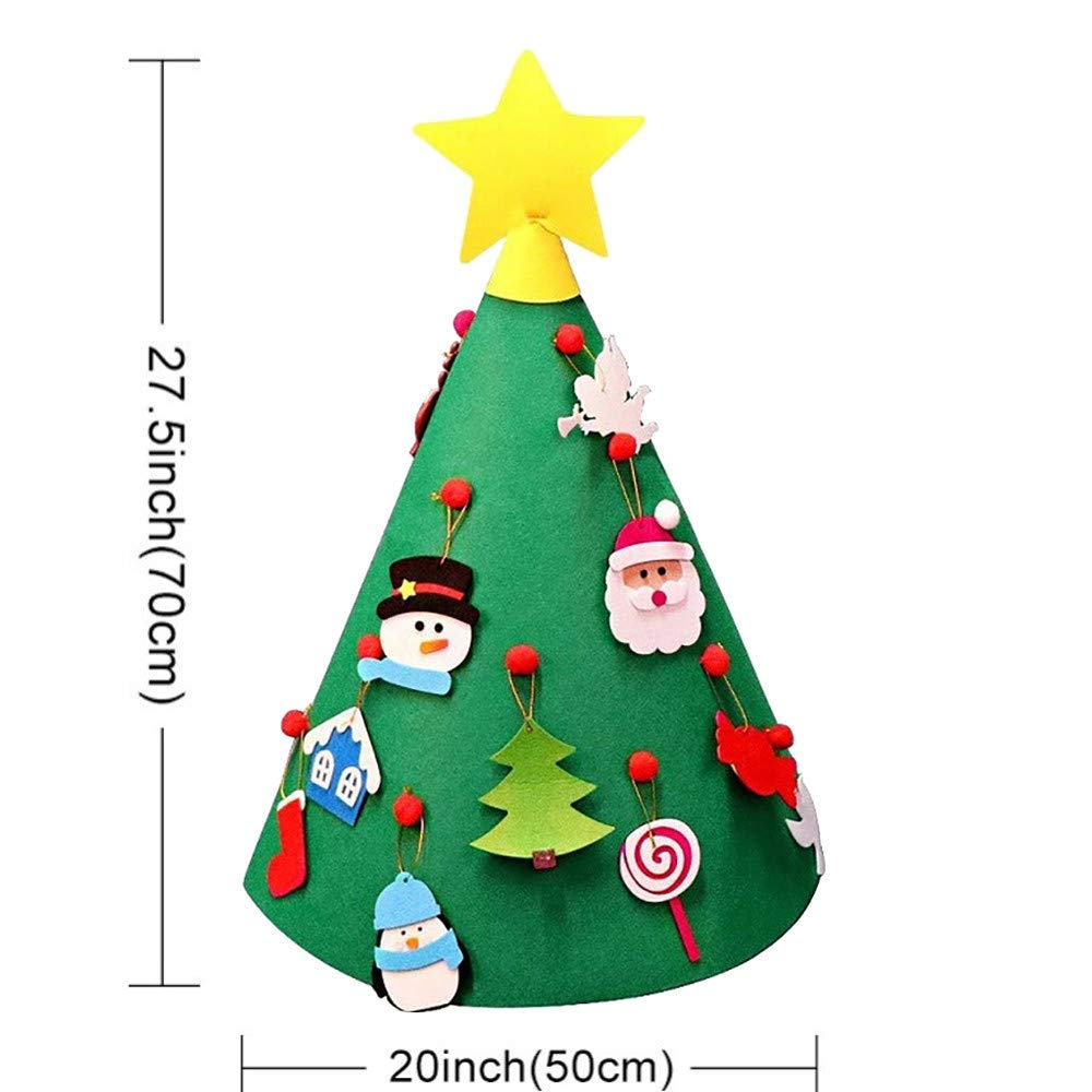AMUSTER 3D DIY Christmas Tree Felt Toddler Christmas Tree New Year ...