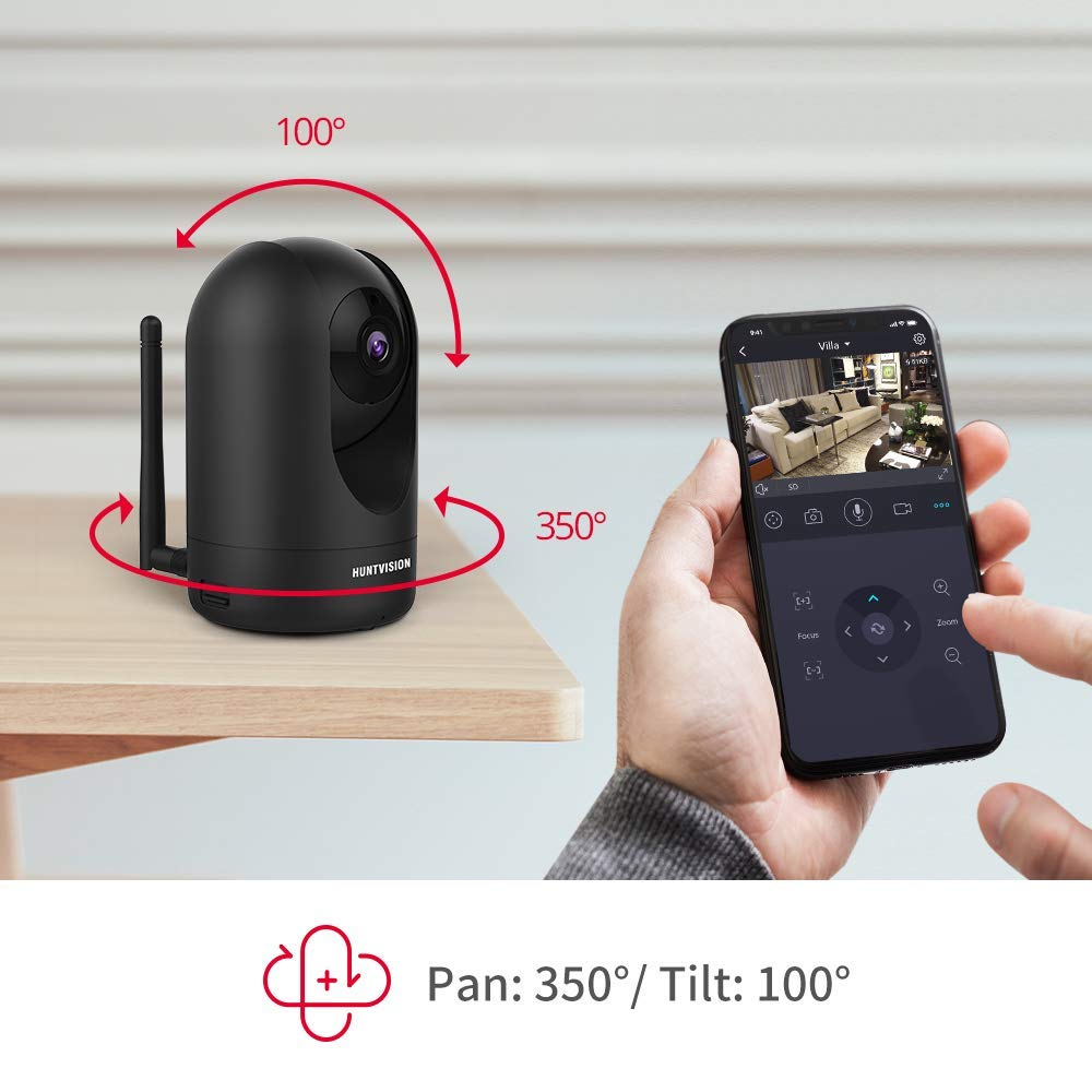 HUNTVISION Wireless Camera 4MP Super HD, Pan Tilt Zoom Free Cloud Storage Service, WiFi IP Home Security Camera, WiFi or Wired Connection, Night Vision, Motion Sound Sensor, Two-Way Audio, P4 Black