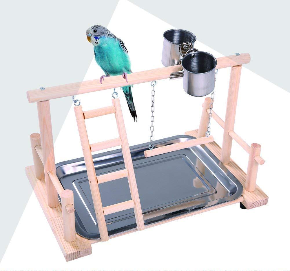 Hypeety perroquets Playstand Bird Playground Bois Perchoir Gym Support Parc Bird échelles d'exercice bébé Style avec mangeoire Tasses pour cacatoès Perruche Cage Accessoires d'entraînement Jouet