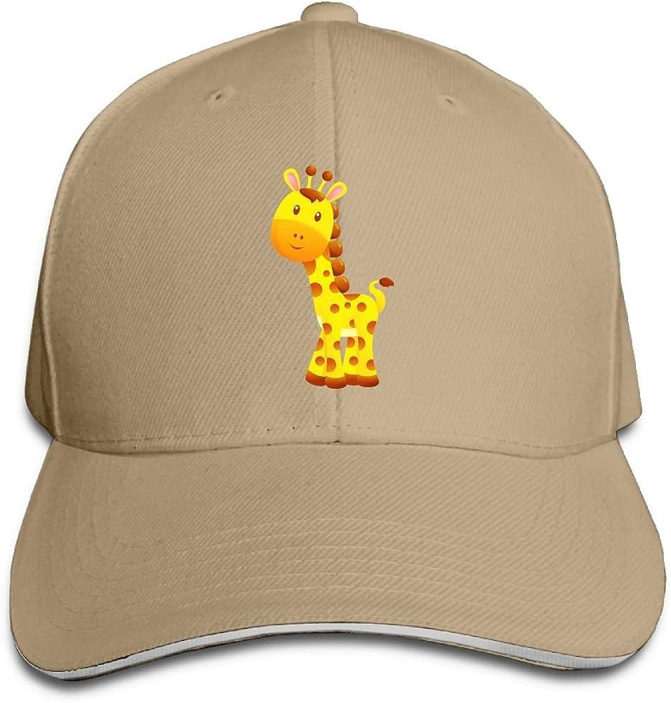 Unisex Keep Your Chin Up and Smile Giraffe Sandwich Peak Dad Hat Fashion Sandwich Hat