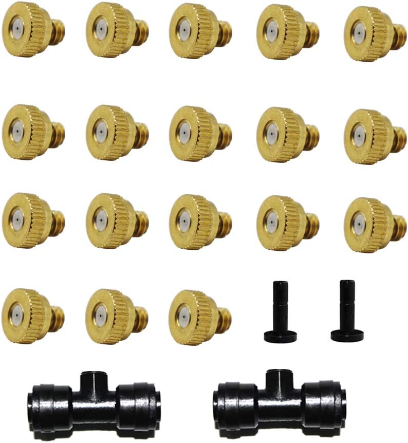 Blupure Brass Misting Nozzles for Cooling System, 0.4mm 10/24 UNC 18pcs Spray Nozzles + 2pc Mist seat + 2pcs Plug, Greenhouse Landscaping, Dust Fan Water Outdoor Misters for Outside Patio Cooling