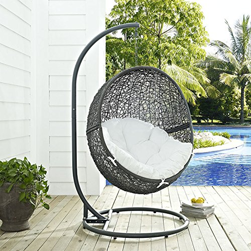 Bedroom Set Swing - Modway EEI-2273-GRY-WHI Hide Wicker Rattan Outdoor Patio Balcony Porch Lounge Egg Swing Chair Set with Stand Gray White