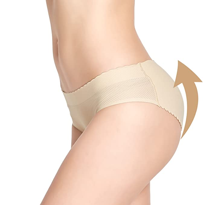 cb6ef7da3 AICONL Women s Padded Seamless Butt Hip Enhancer Shaper Panties Low Waist  Underwear Beige