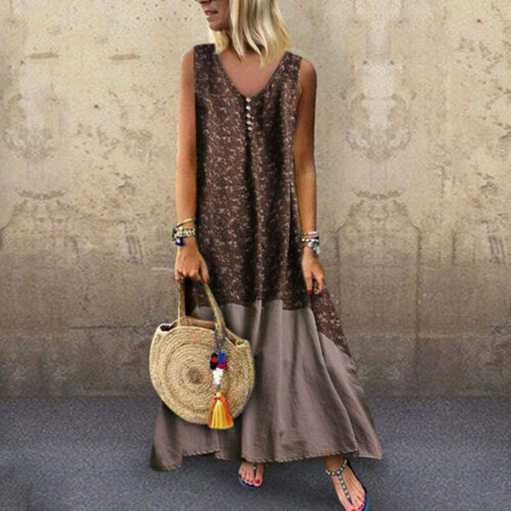 HighlifeS/_Women Dresses Plus Size Vintage Patchwork Ankle-Length Casual Loose Boho Long Plus Size Retro Maxi Dress