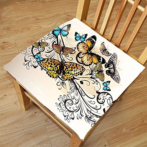 Nalahome Set of 2 Waterproof Cozy Seat Protector Cushion Butterfly Decor Monarch Butterflies Vintage Damask Ombre Background Printing Size 20x20inch