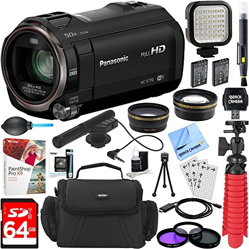 Panasonic HC-V770K HD Camcorder with Mini Zoom Microphone + 64GB SDXC Memory Card + Gadget Bag + Corel PaintShop Pro X9 + Microfiber Cloth + Memory Card Wallet + Card Reader + Tripod & More by Beach Camera