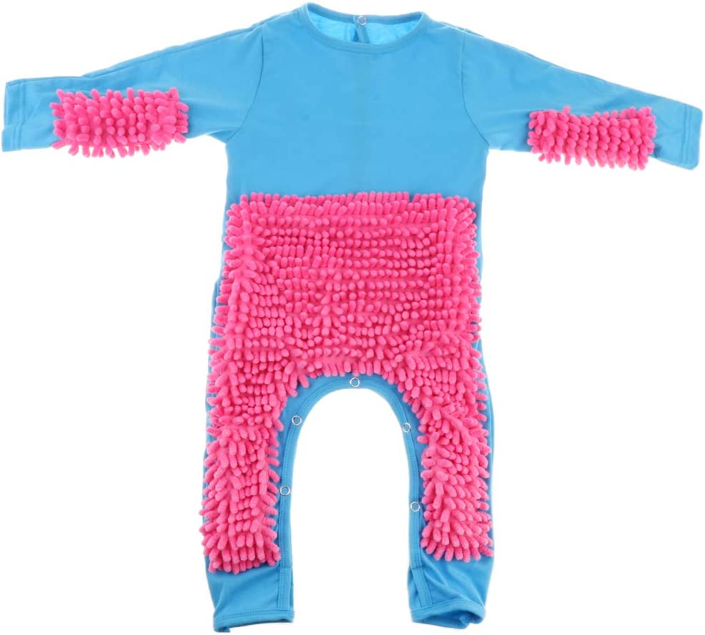 73cm perfeclan Baby Mop Romper One-Piece Crawling Clothes Infant Floor Cleaning Outfits Blue+Rose Red