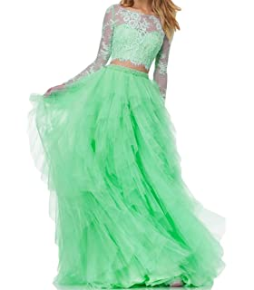 61c7e86152cd BanZhang Women's Prom Party Dress Long Sleeve Lace Homecoming Dresses 2  Piece A Line B280