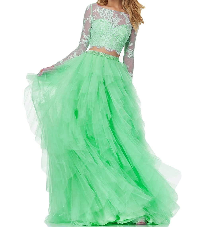 e76db441a0 Amazon.com  BanZhang Women s Prom Party Dress Long Sleeve Lace Homecoming  Dresses 2 Piece A Line B280  Clothing