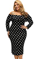 Pyramid Women's Plus Size Vintage Polka Dot Ruffle Off shoulder Long Sleeves Party Cocktail Dress
