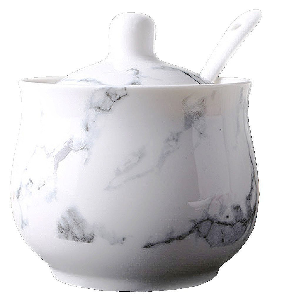 Ceramics Marbling Sugar Salt Pepper Storage Jar Seasoning Pot with Lid And Spoon