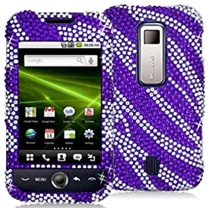 DECORO FDHWM860IMZ703E Premium Full Diamond Protector Case for Huawei M860/Ascend - 1 Pack - Retail Packaging - Purple And Silver Zebra