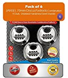 "JANSEL – Disc Combination Lock 70mm , Combination Disc Padlock 2-3/4"" 70mm Stainless Steel Round Discus Combination Padlock Resettable 4 Dials with Shielded Shackle, Hardened Steel Shackle (6 Count)"