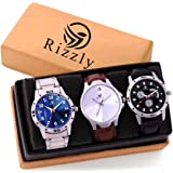 Rizzly Analogue Black Dial Watches-Combo for Men