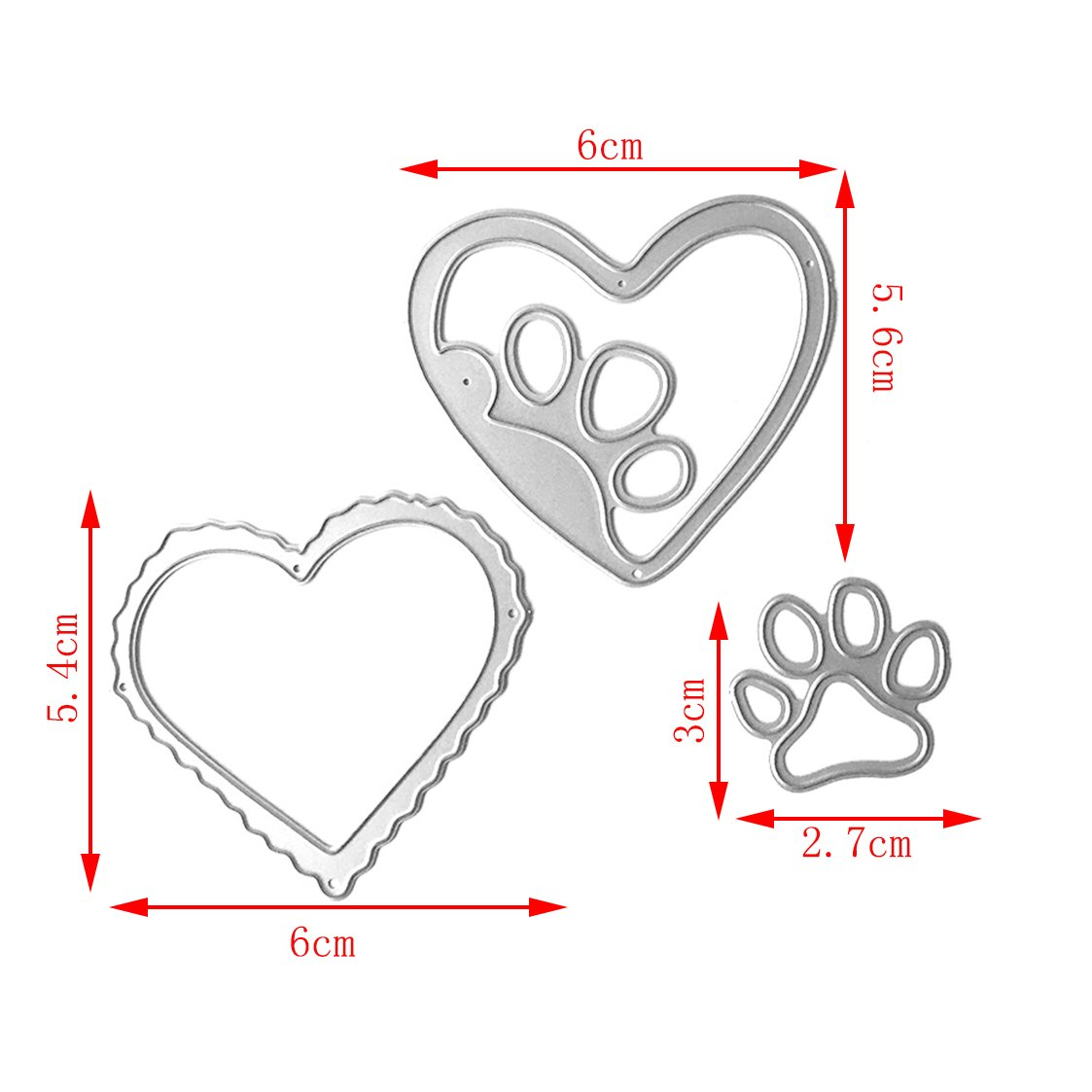 Mimgo Metal Steel Embossing Cutting Dies Stencil Kit For Handmade DIY Scrapbooking Paper Card Craft - Love & Dog's Palm by Mimgo (Image #6)