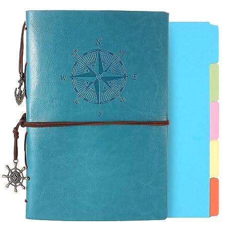 Amazon.com: Diario de cuero, cuaderno A5 rellenable, vintage ...