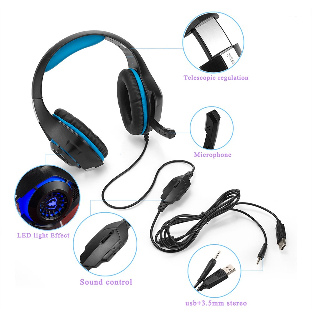 Beexcellent GM-1 Gaming Headset, Stereo Gaming Headphones Noise Isolation/LED Light/Bass Surround Over-ear/Mic USB & 3.5mm Wired for PS4 Xbox one PC (Blue) by Beexcellent (Image #4)