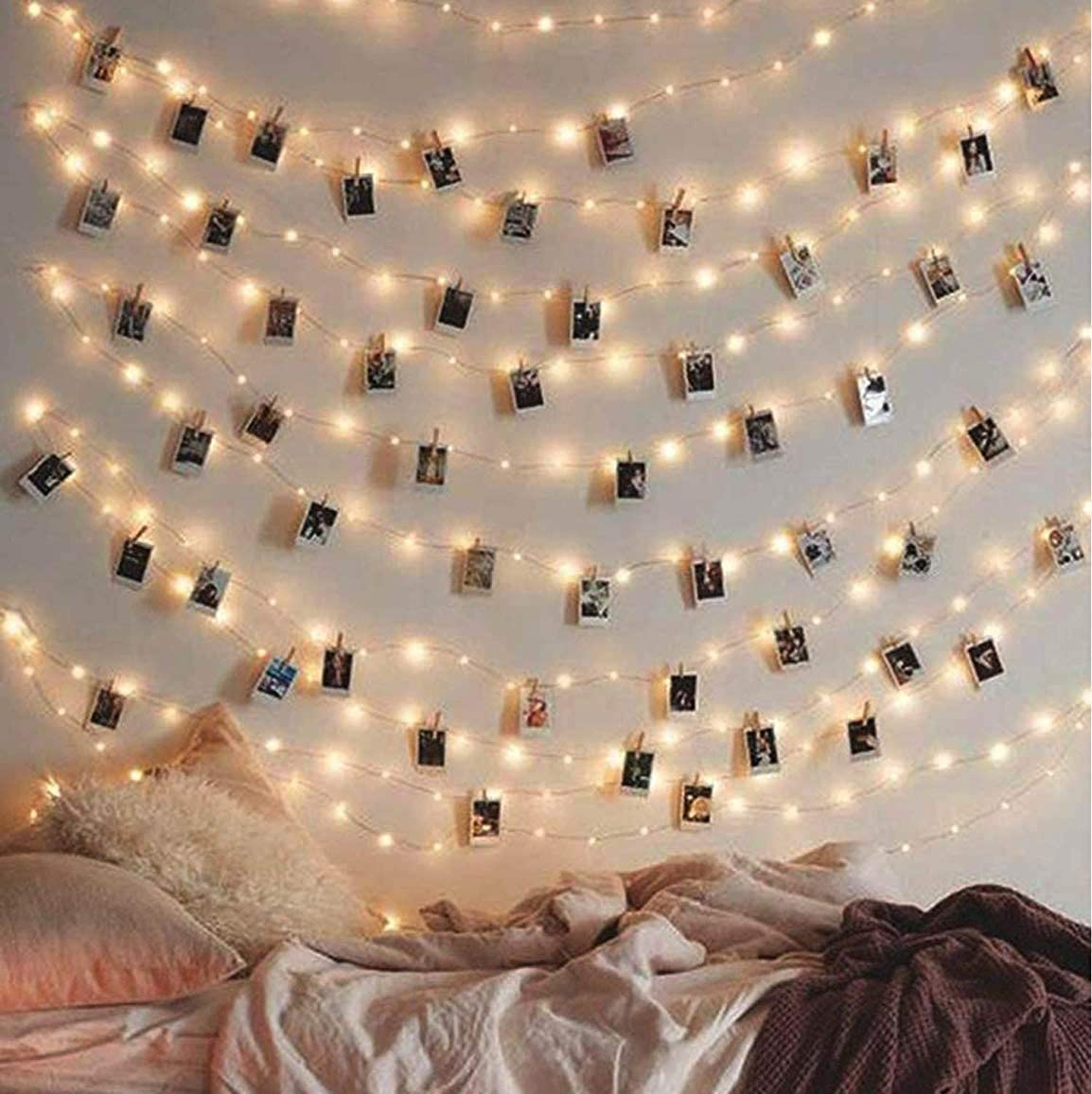 ELShy Photo Clips String Light 100 LED Waterproof Fairy String Lights with 50 Clear Clips, Battery and USB Powered with Cable for Party Christmas Home Decor, 33Ft 8 Modes Warm White (100LED/33Ft)