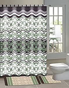Laurel sage green brown 15 piece bathroom for Green and brown bathroom accessories
