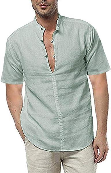Solike - Camisa de Lino para Hombre, Manga Corta, Acolchada, Talla Grande Verde M: Amazon.es: Ropa y accesorios