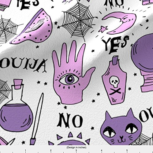 Ouija Fabric Ouija Cute Halloween Pattern October Fall Themed Fabric Print White Purple By Andrea Lauren by Andrea Lauren Printed on Basic Cotton Ultra Fabric by the Yard by - Menu Themed Halloween