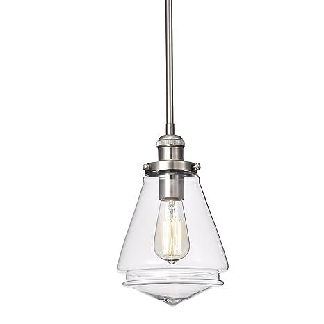 Edvivi 1 Light Brushed Nickel Encased Jar Hand Blown Glass Shade Pendant Contemporary Lighting