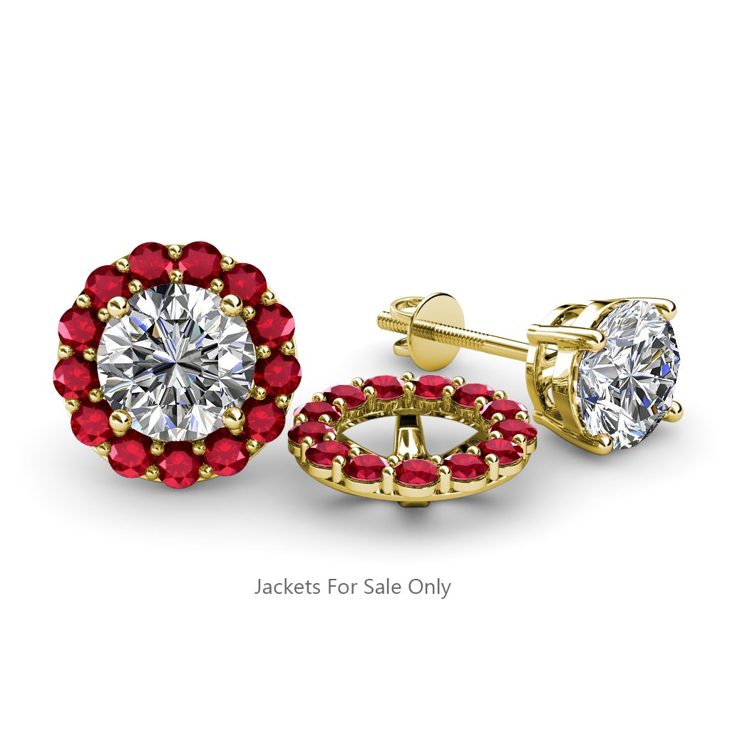Ruby Halo Jacket for Stud Earrings 0.82 cttw in 14K Yellow Gold