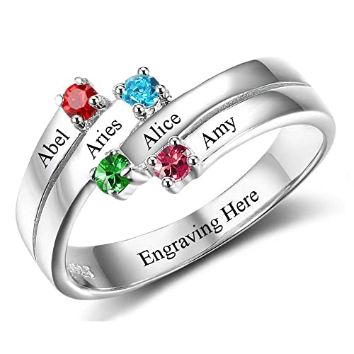 Mother Rings with Engraved names and Simulated Birthstone